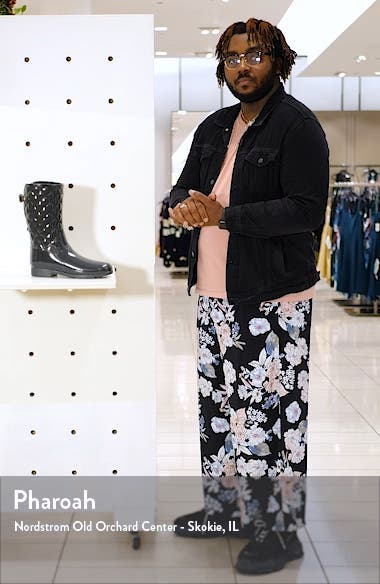 Refined High Gloss Quilted Short Rain Boot, sales video thumbnail