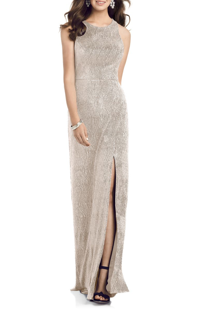 DESSY COLLECTION Soho Metallic Column Gown, Main, color, ROSE GOLD