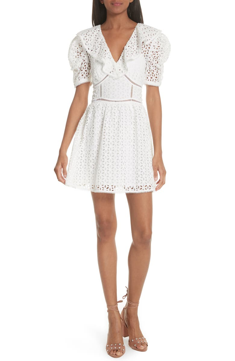SELF-PORTRAIT Puff Shoulder Broderie Anglaise Dress, Main, color, White