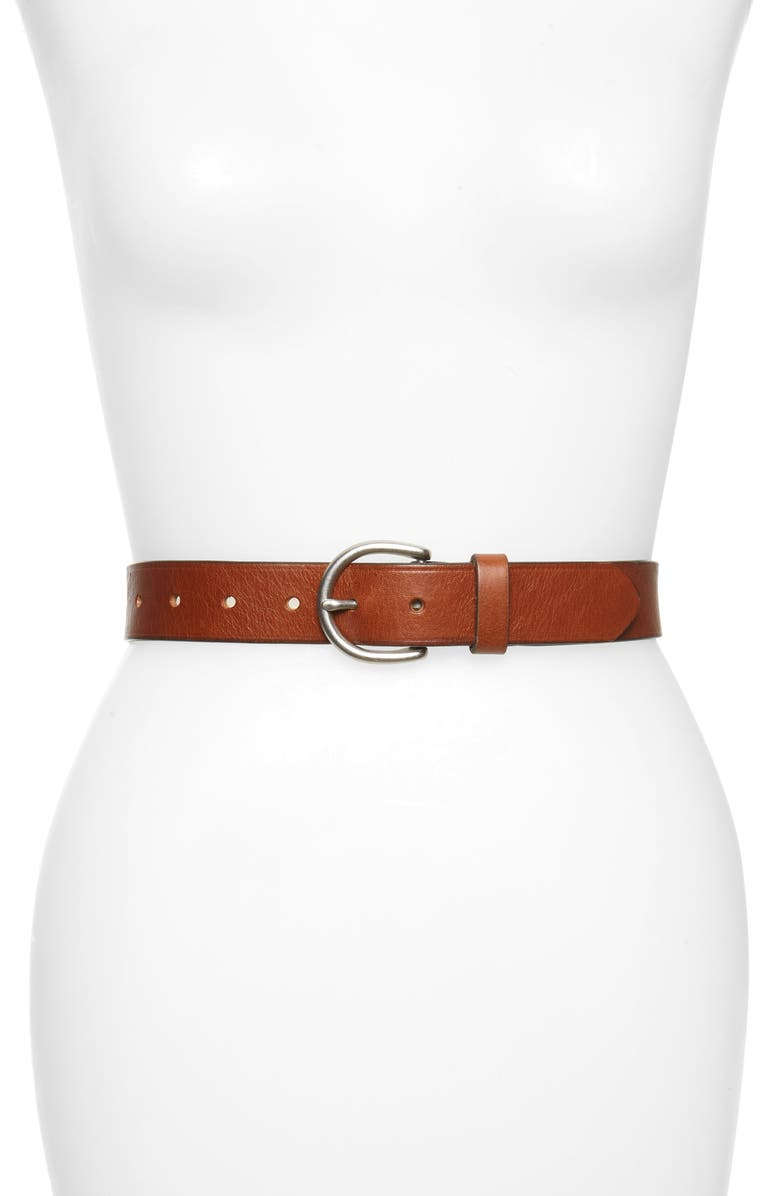 MADEWELL Medium Perfect Leather Belt, Main, color, PECAN/ SILVER