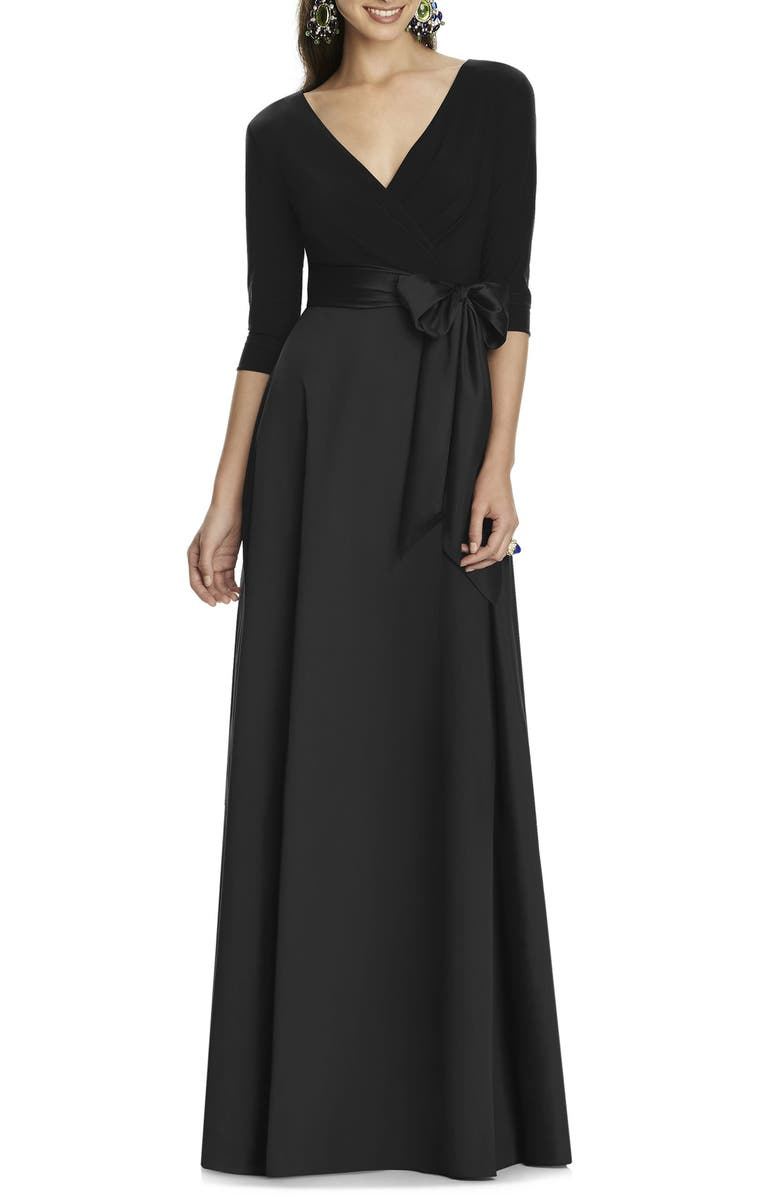 ALFRED SUNG Jersey & Mikado A-Line Gown, Main, color, 001