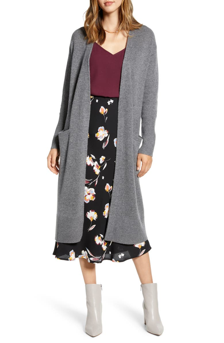 HALOGEN<SUP>®</SUP> Wool & Cashmere Long Cardigan, Main, color, HEATHER DARK GREY