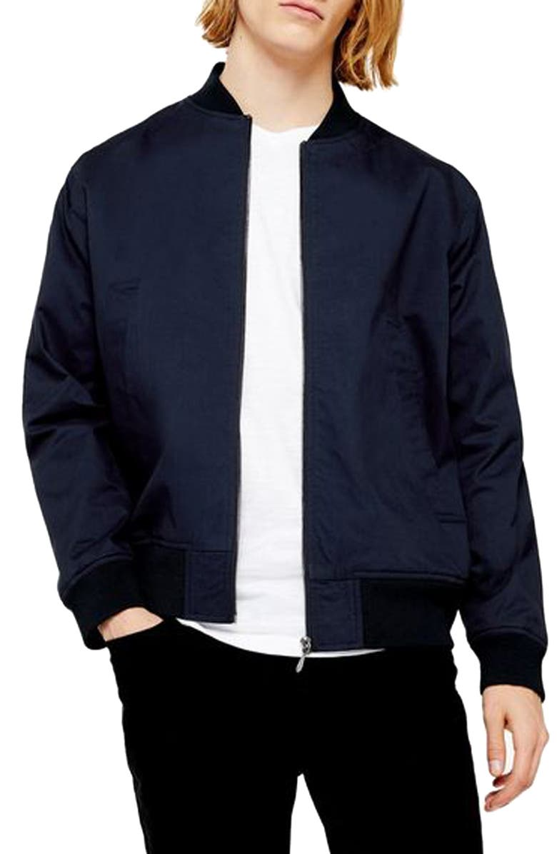 TOPMAN Anthony Bomber Jacket, Main, color, 410