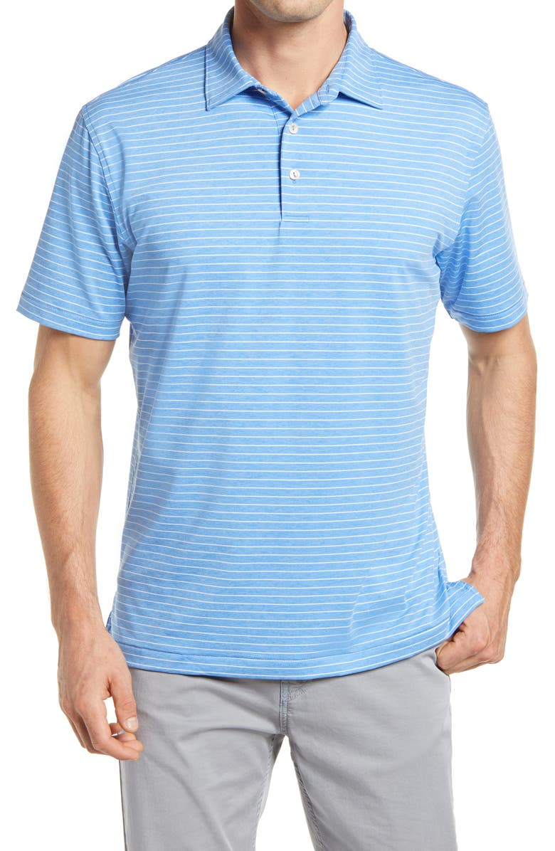 PETER MILLAR Crafty Pinstripe Performance Polo, Main, color, CAPE BLUE