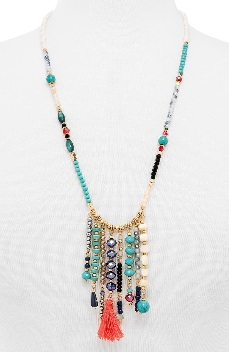 BAUBLEBAR 'Congo' Beaded Tassel Necklace, Main, color, TURQUOISE/ GOLD