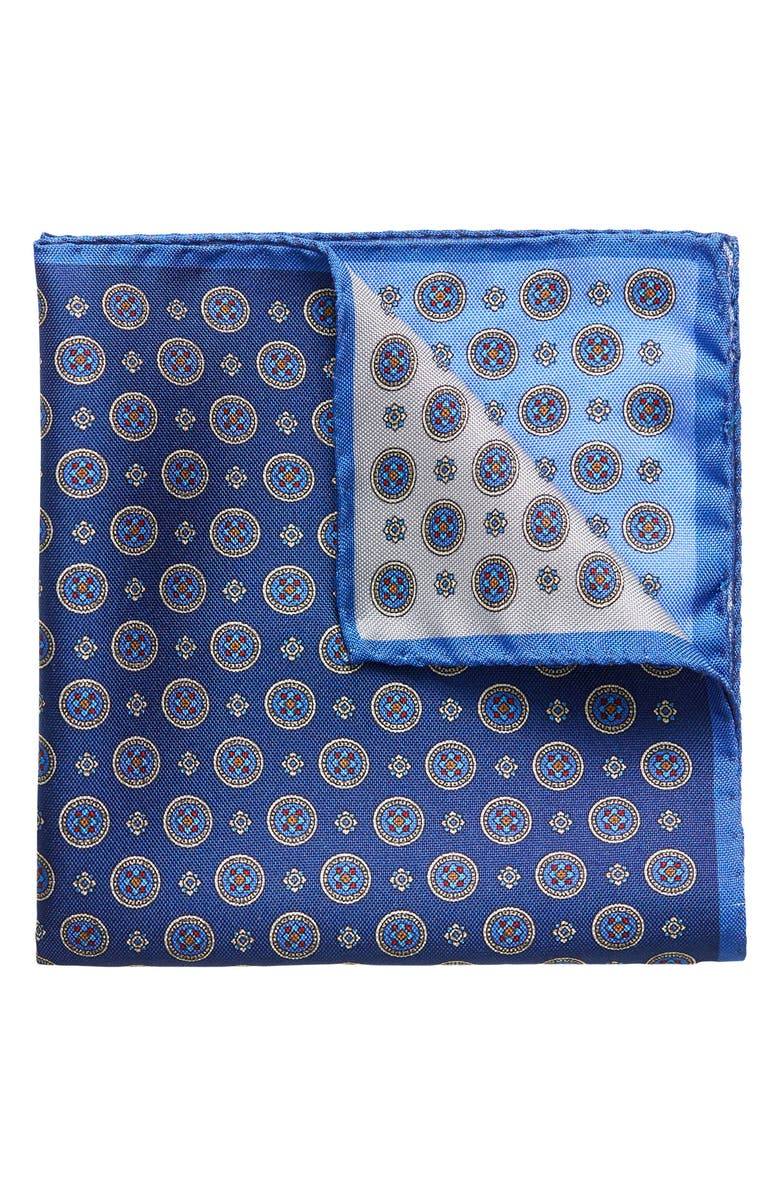 ETON Four-in-One Silk Pocket Square, Main, color, Blue