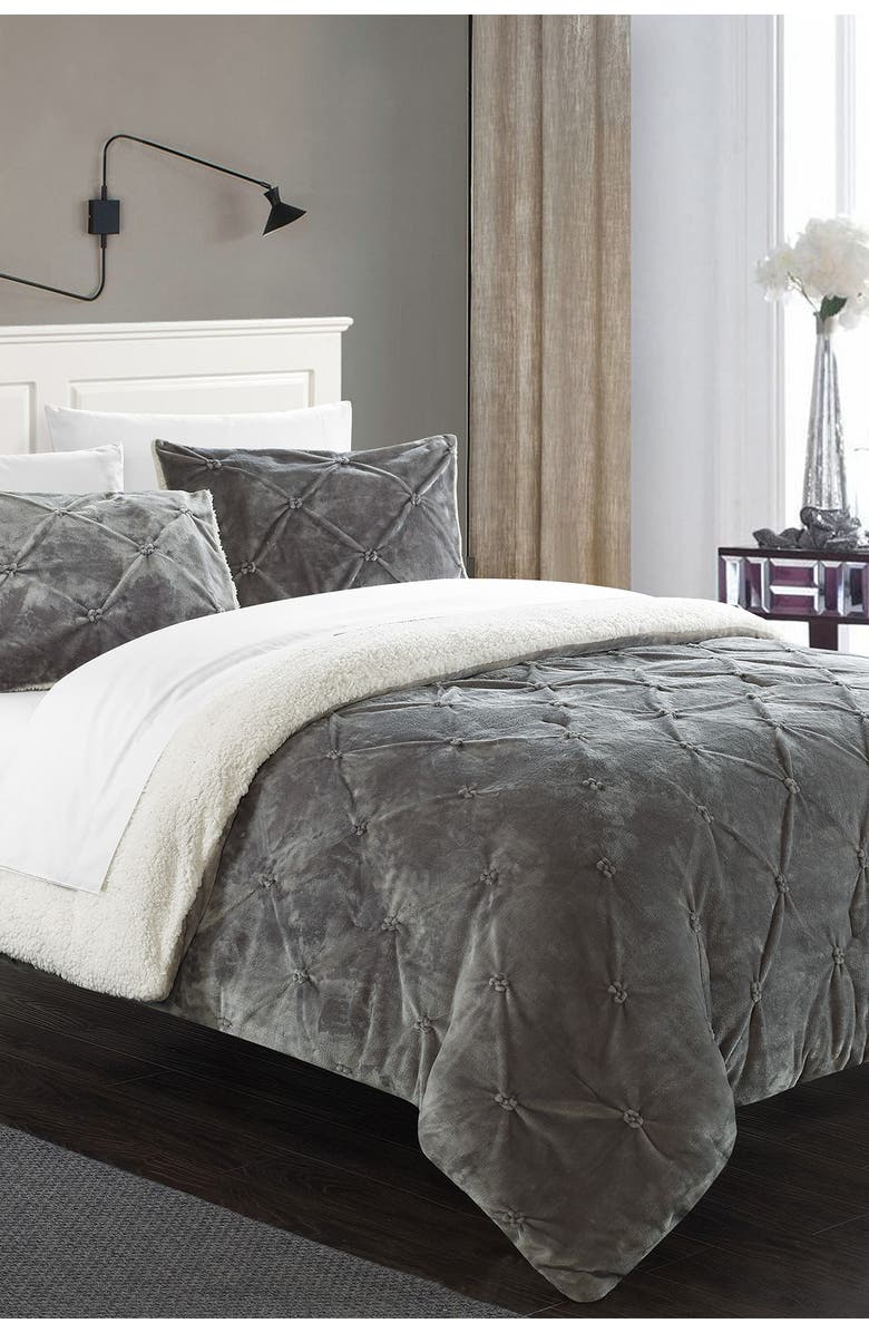 CHIC King Adele Pinch Pleat Shearling Lined Bed In A Bag Set - Grey, Main, color, GREY