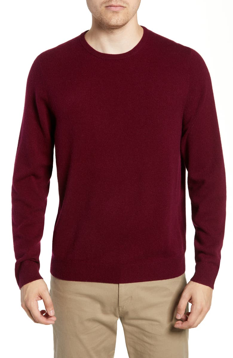 NORDSTROM Men's Shop Cashmere Crewneck Sweater, Main, color, BURGUNDY LONDON