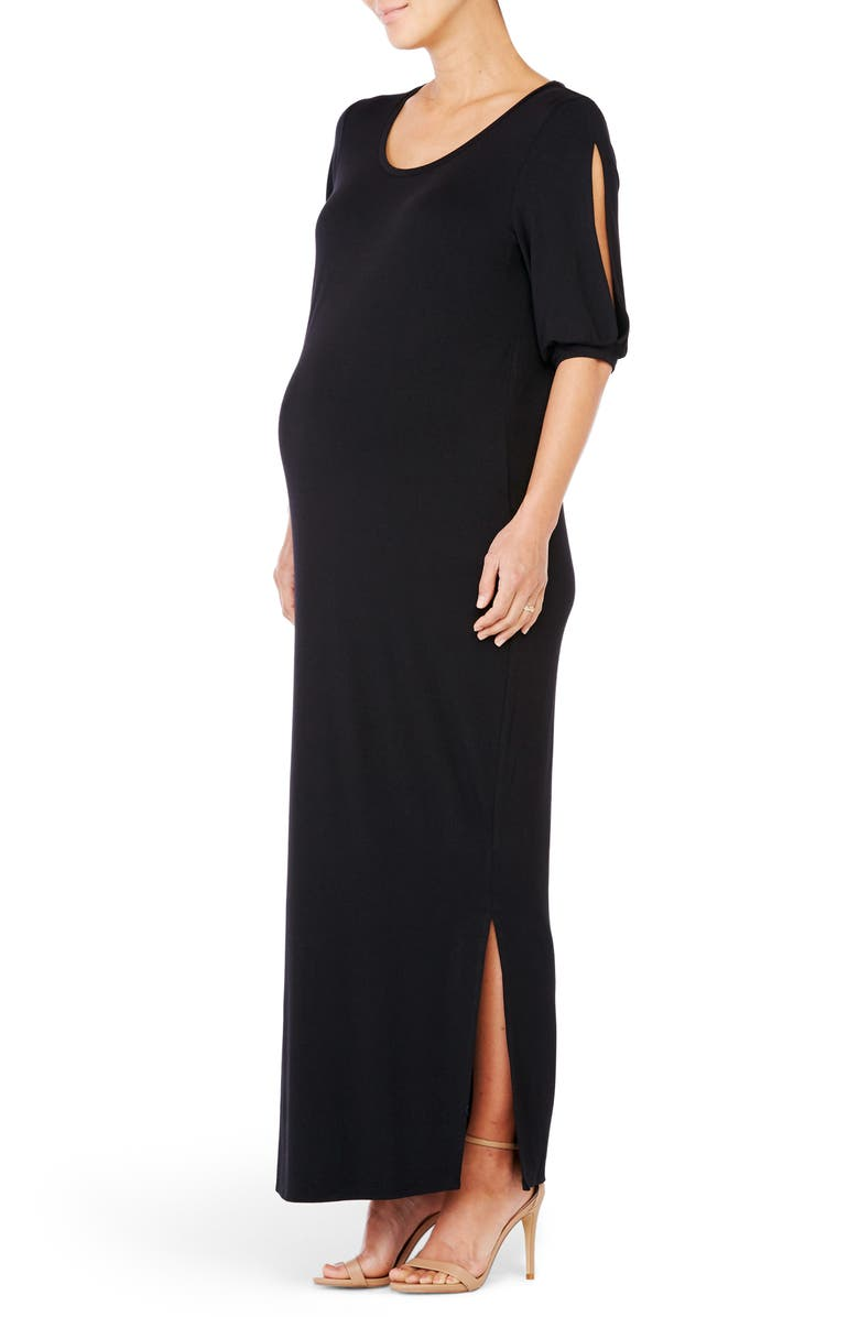 INGRID & ISABEL<SUP>®</SUP> Split Sleeve Knit Maternity Maxi Dress, Main, color, 006