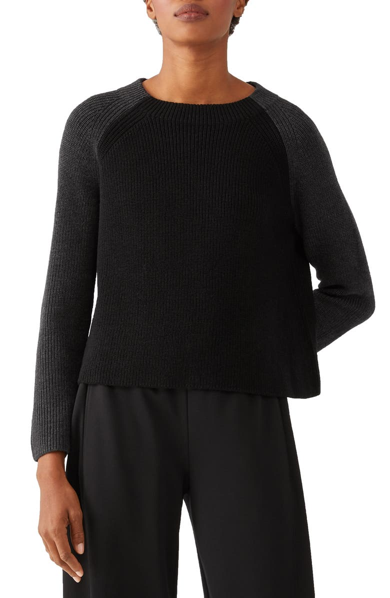 EILEEN FISHER Colorblock Boxy Merino Wool Sweater, Main, color, BLACK/ CHARCOAL