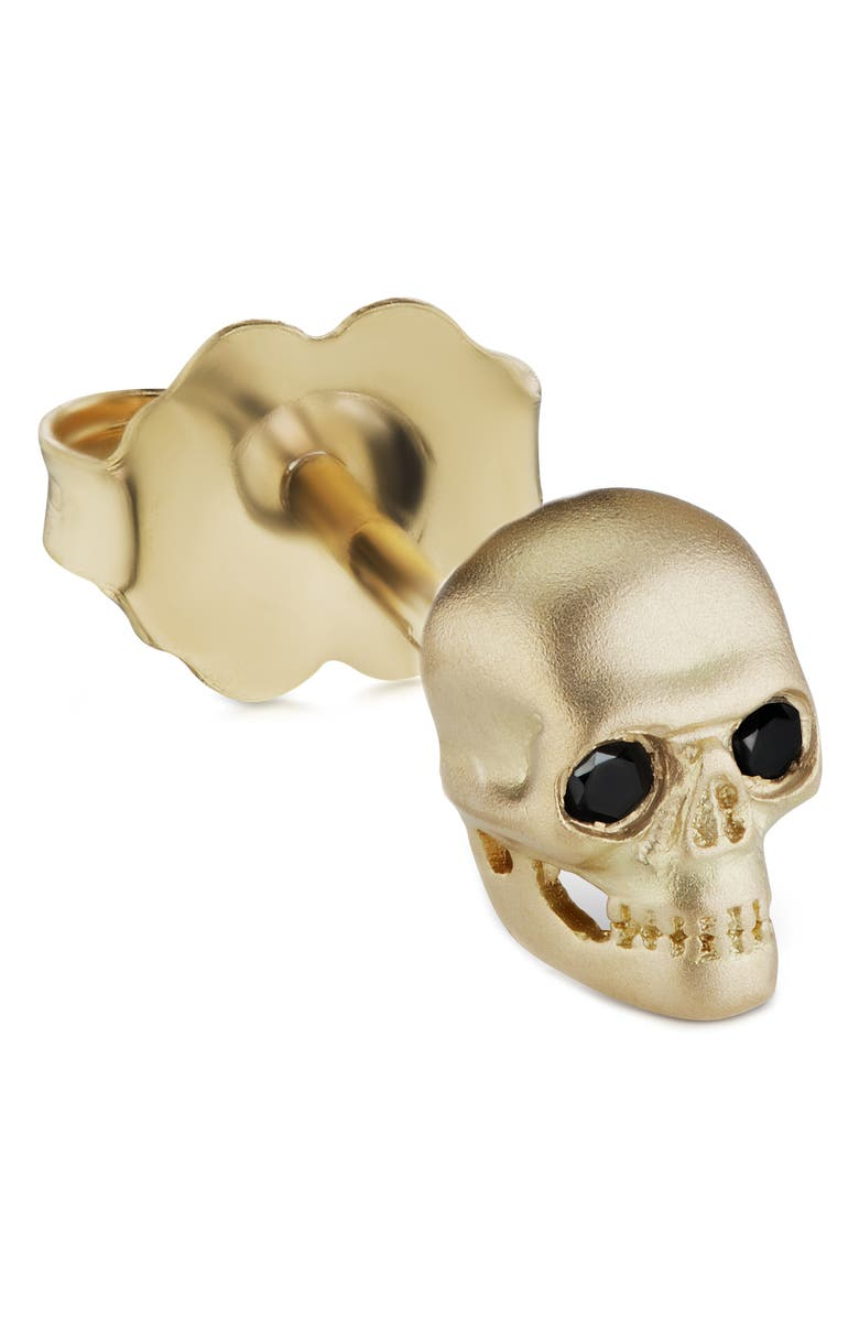 MARIA TASH Large Matte Skull with Diamond Eyes Threaded Stud Earring, Main, color, YELLOW GOLD