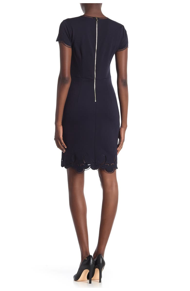 T TAHARI Embroidered Cap Sleeve Dress, Main, color, NAVY