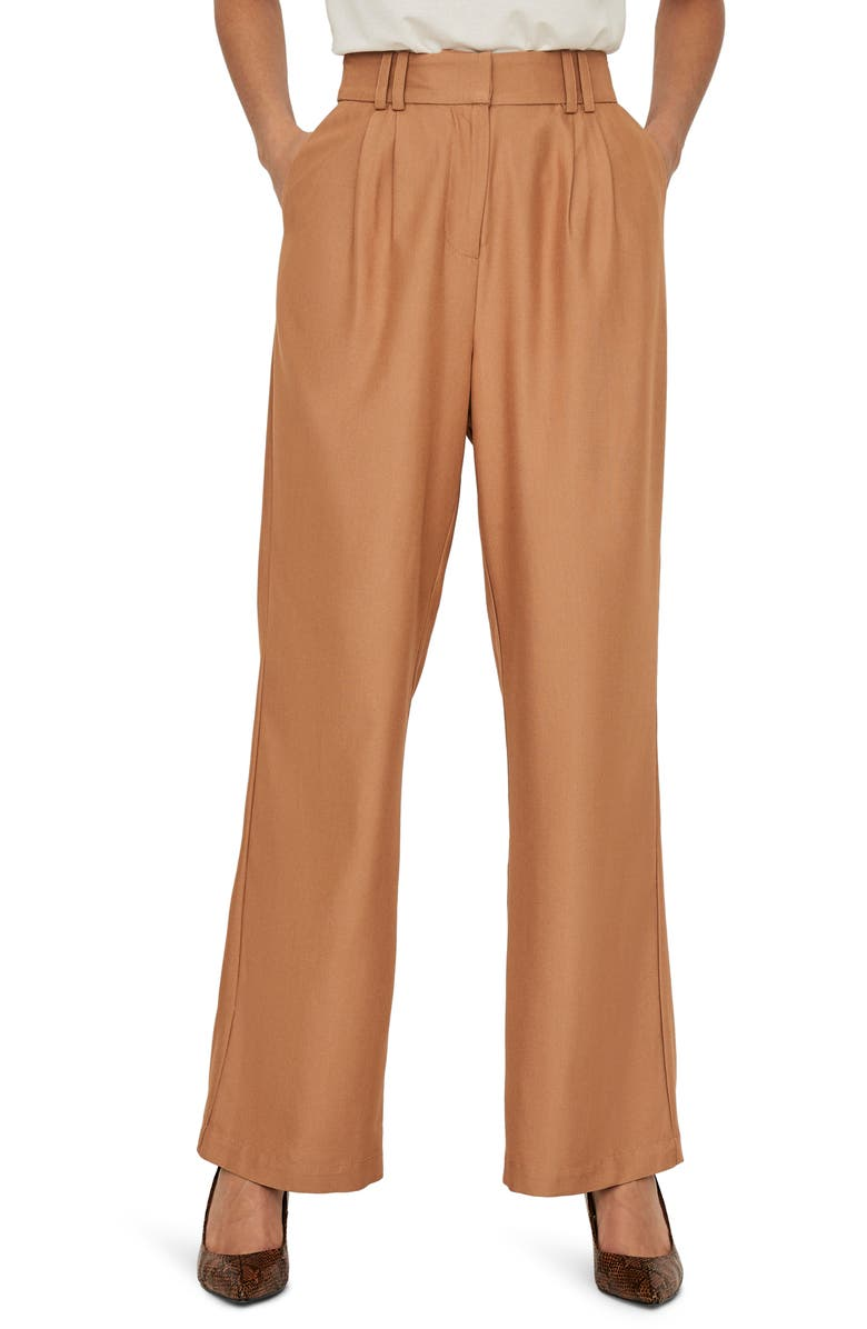 AWARE BY VERO MODA Minna High Waist Pleat Front Pants, Main, color, TOBACCO BROWN