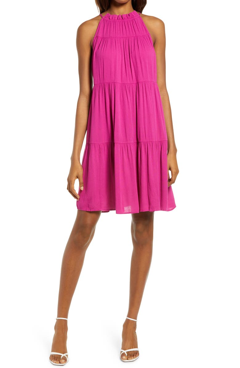 CHELSEA28 Sleeveless Tiered Halter Shift Dress, Main, color, PINK PLUMIER