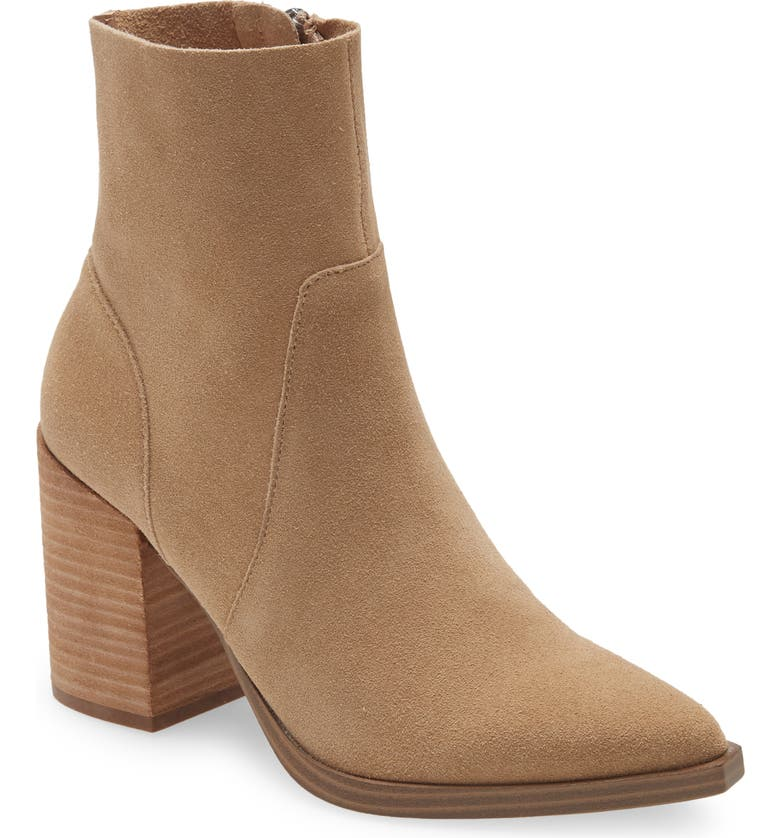 STEVE MADDEN Calabria Pointed Toe Bootie, Main, color, SAND SUEDE