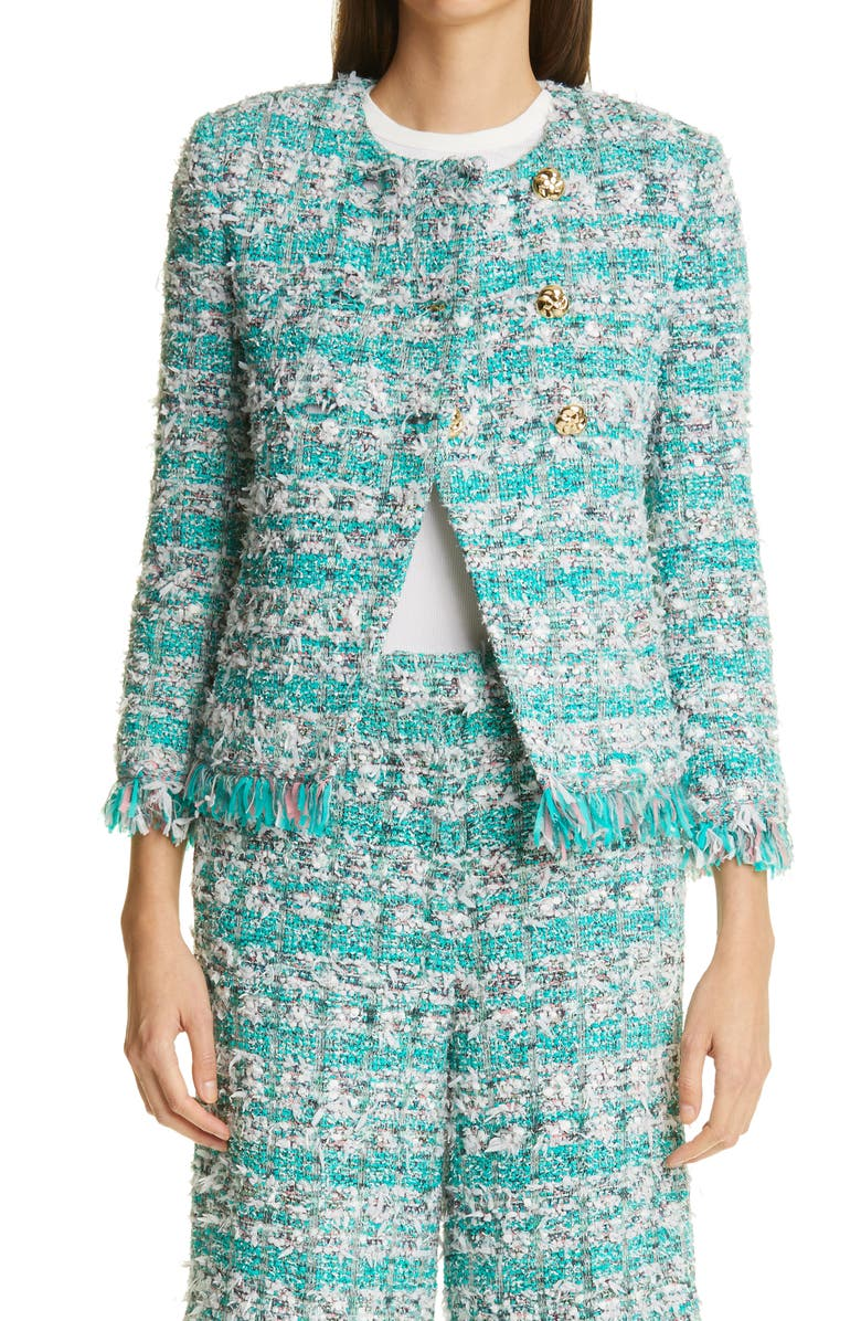 ST. JOHN COLLECTION Double Breasted Fringe Jacket, Main, color, TEAL MULTI