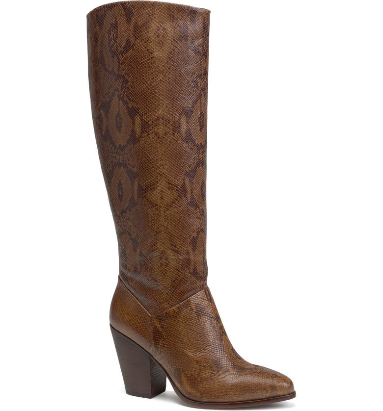 TRASK Elena Water Resistant Knee High Boot, Main, color, BROWN SNAKE PRINT LEATHER