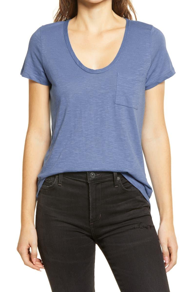 CASLON<SUP>®</SUP> Rounded V-Neck T-Shirt, Main, color, BLUE MOONLIGHT