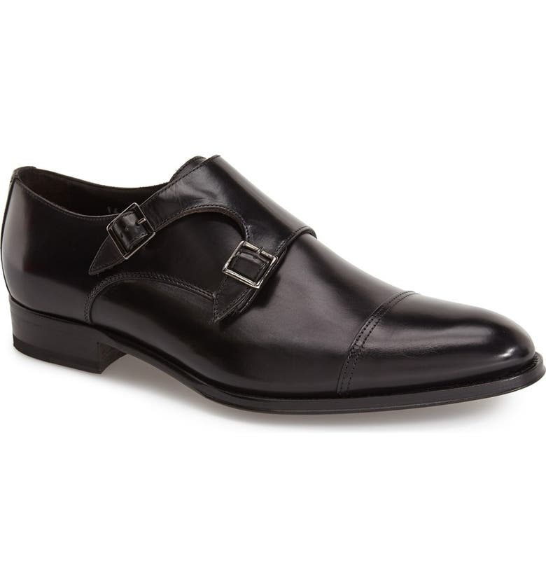 TO BOOT NEW YORK 'Medford' Double Monk Strap Shoe, Main, color, BLACK LEATHER