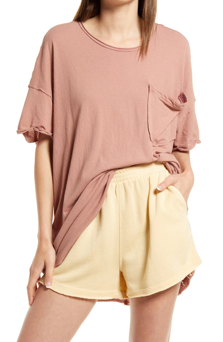 FREE PEOPLE Take It Easy Tunic T-Shirt, Main, color, SUMMER SPARROW