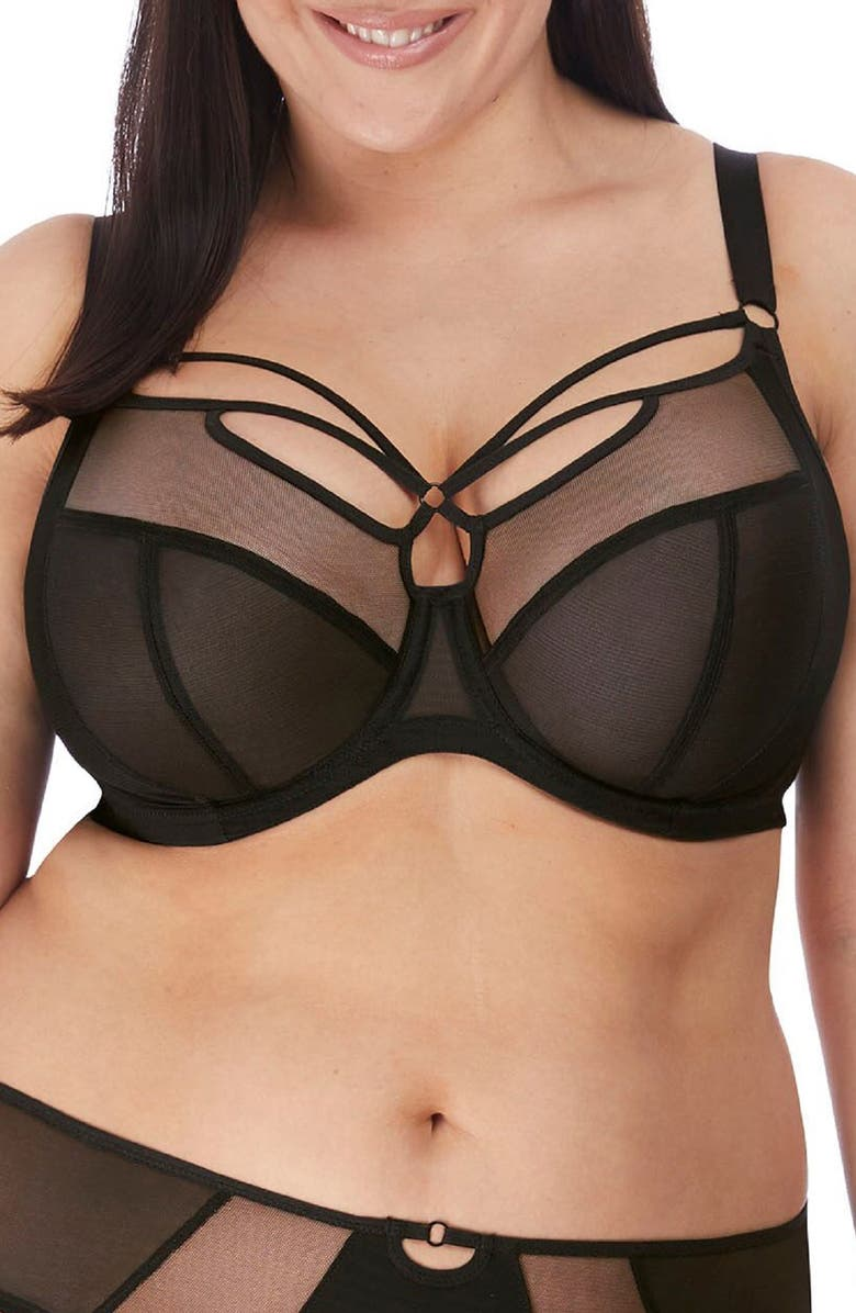 ELOMI Sachi Full Figure Underwire Plunge Bra, Main, color, BLACK