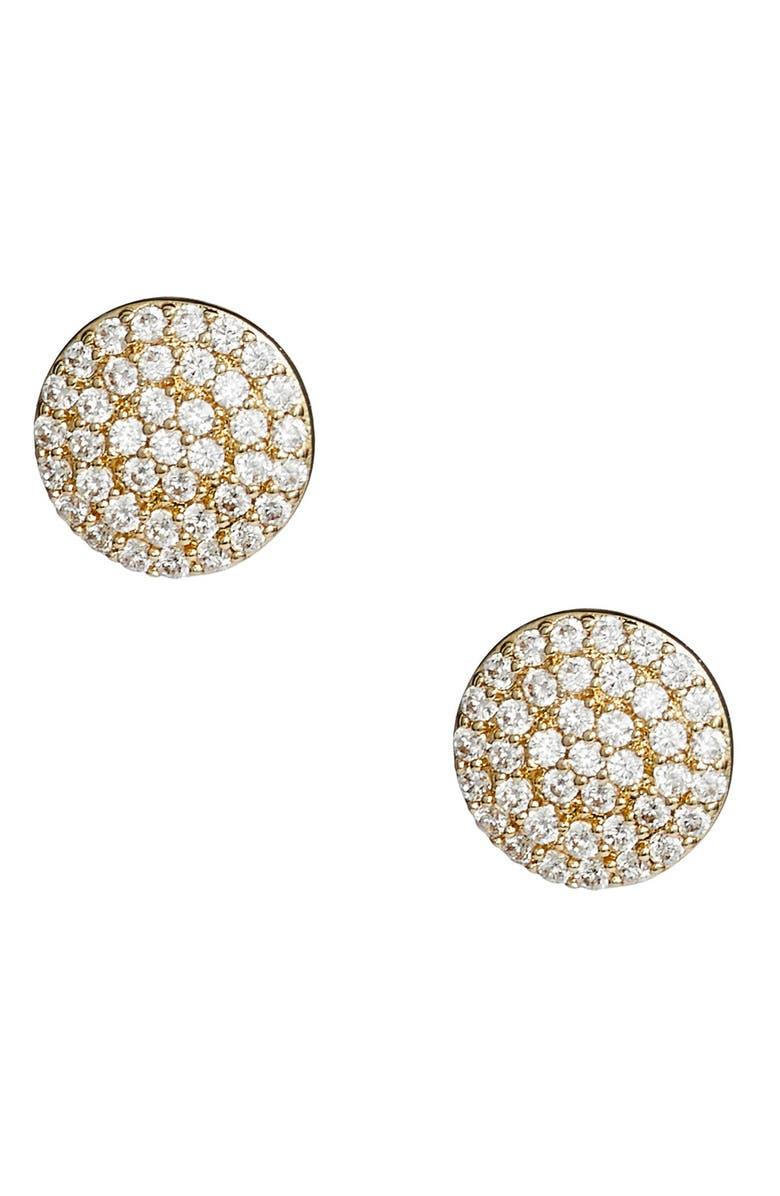 NORDSTROM Pavé Disc Stud Earrings, Main, color, CLEAR- GOLD