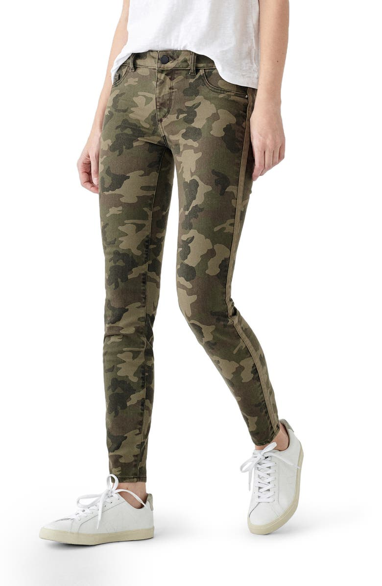 DL1961 Florence Camo Mid Rise Skinny Jeans, Main, color, MARSH - ULTIMATE