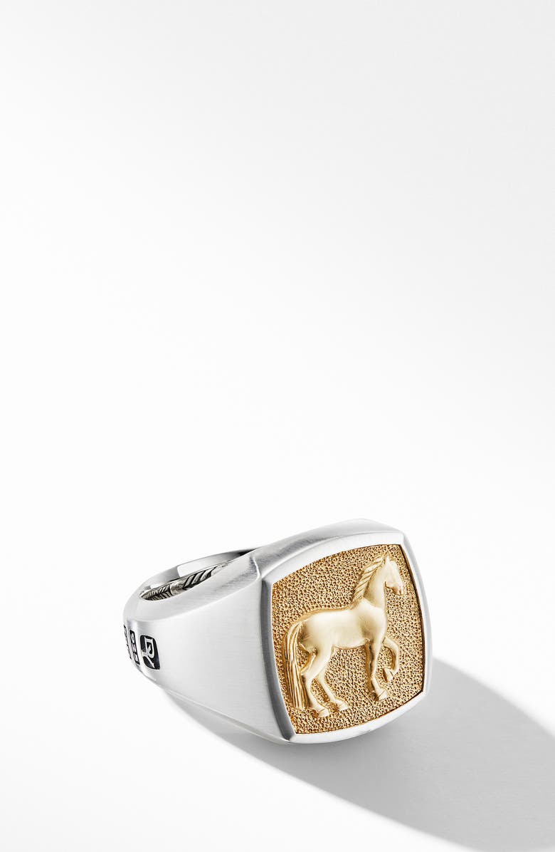 DAVID YURMAN Petrvs<sup>®</sup> Horse Signet Ring with 18K Yellow Gold, Main, color, SILVER/ YELLOW GOLD