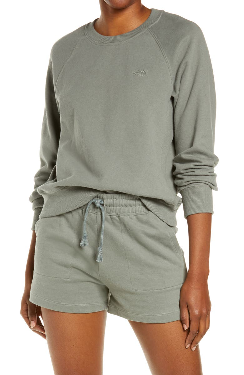 THE NORTH FACE Camp Crewneck French Terry Sweatshirt, Main, color, AGAVE GREEN