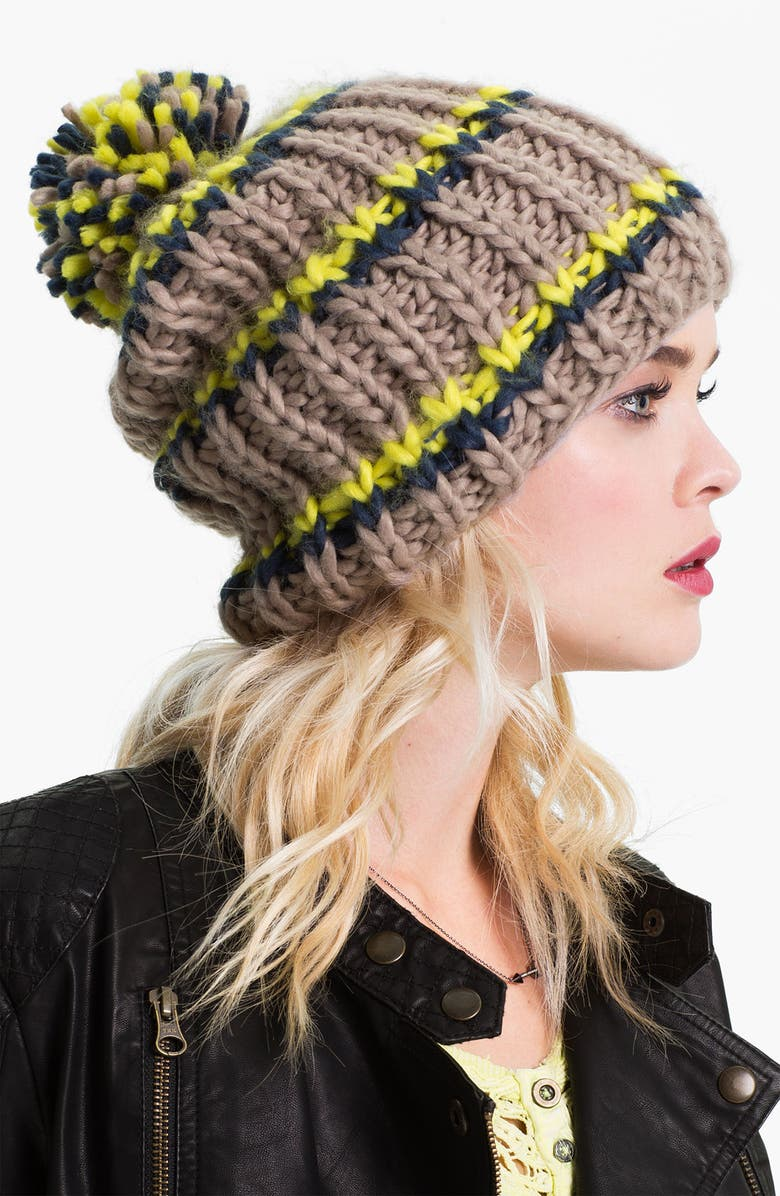 FREE PEOPLE Chunky Knit Beanie, Main, color, BEIGE/ CHARTREUSE/ BLACK COMBO