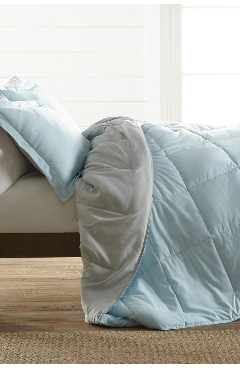 IENJOY HOME Treat Yourself To The Ultimate Down Alternative Reversible 3-Piece Comforter Set - Aqua - King, Main, color, BLUSH