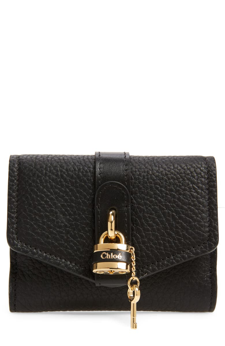 CHLOÉ Aby Leather French Wallet, Main, color, BLACK