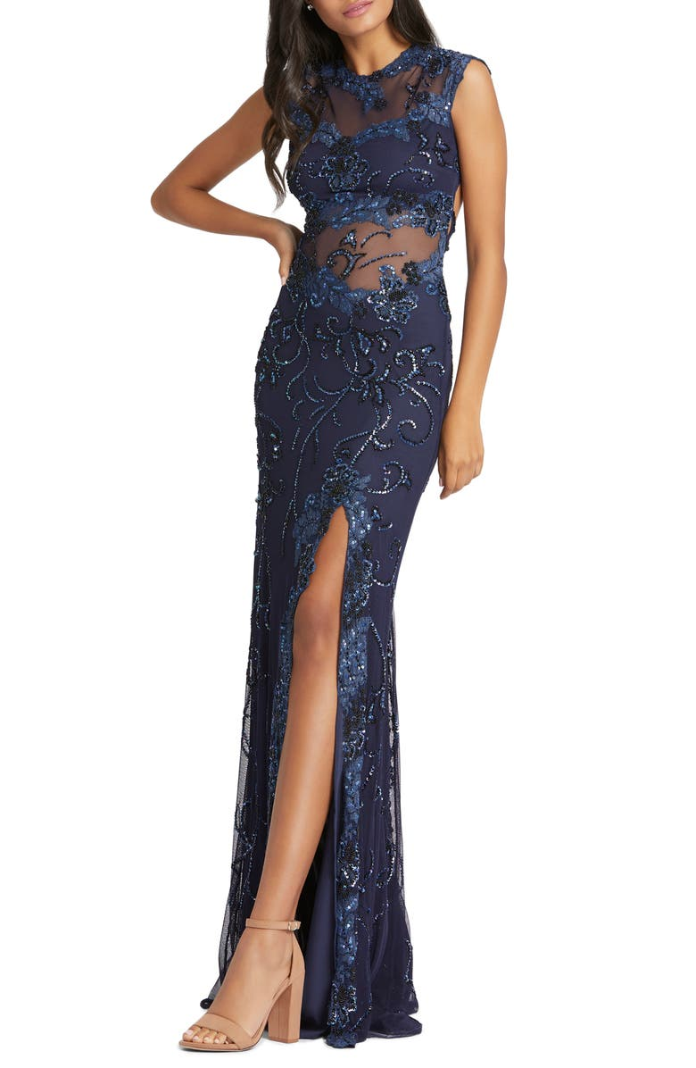 MAC DUGGAL Illusion Sequin Gown, Main, color, MIDNIGHT