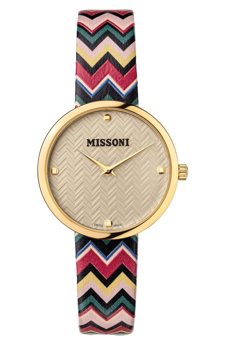MISSONI Multicolor Leather Strap Watch, 34mm, Main, color, CHAMPAGNE / CHAMPAGNE