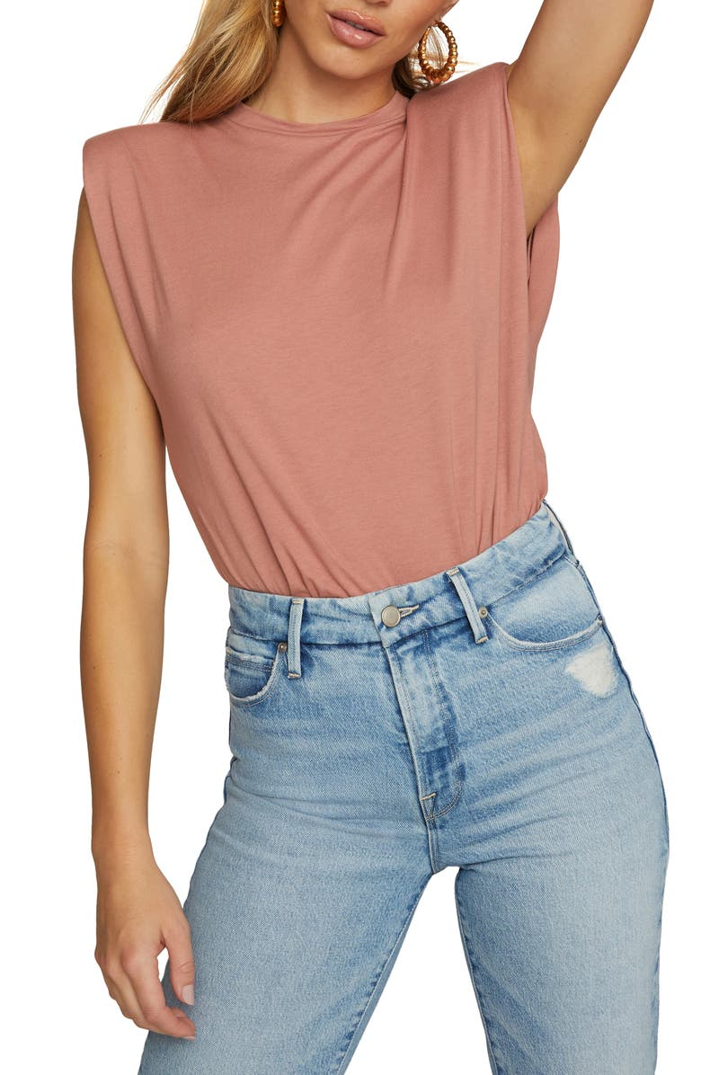 GOOD AMERICAN Strong Shoulder Tank, Main, color, DUSTY ROSE
