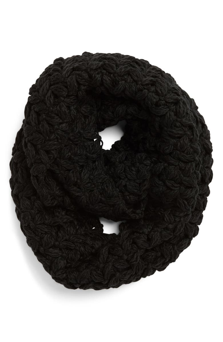 COLLECTION XIIX Crochet Infinity Scarf, Main, color, Black