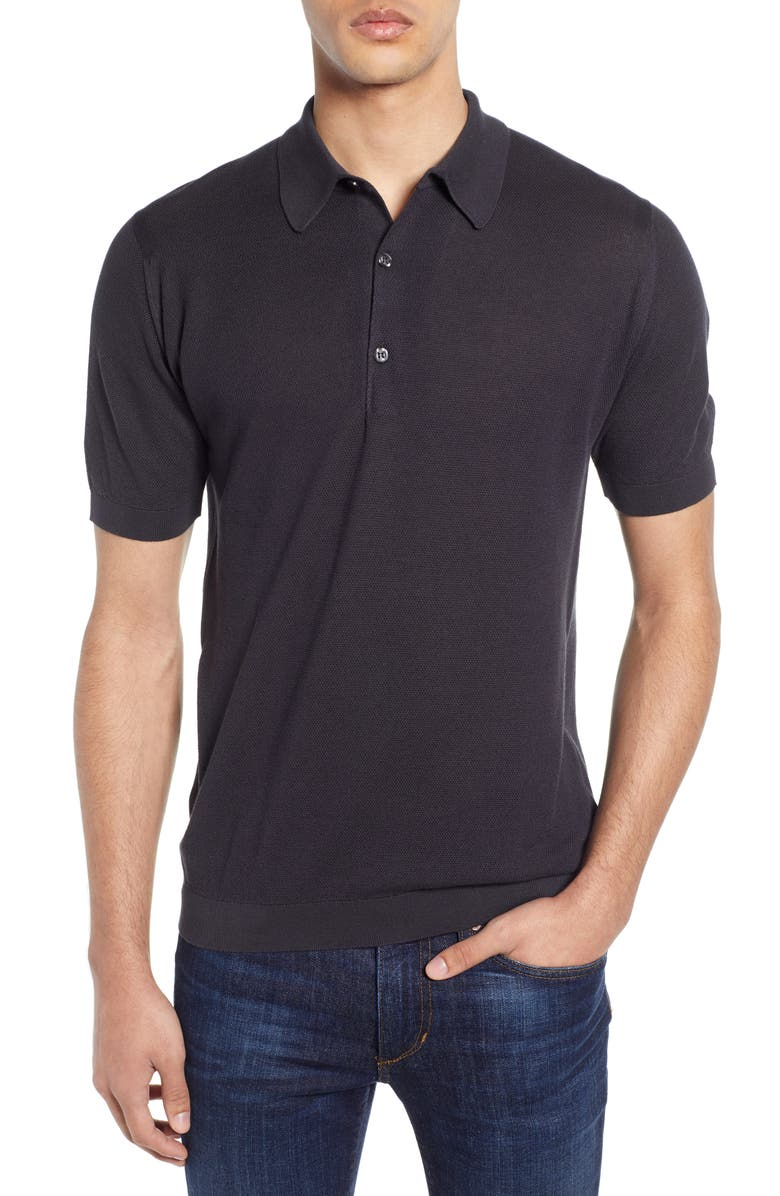 JOHN SMEDLEY Roth Solid Sweater Polo, Main, color, FLANNEL GREY