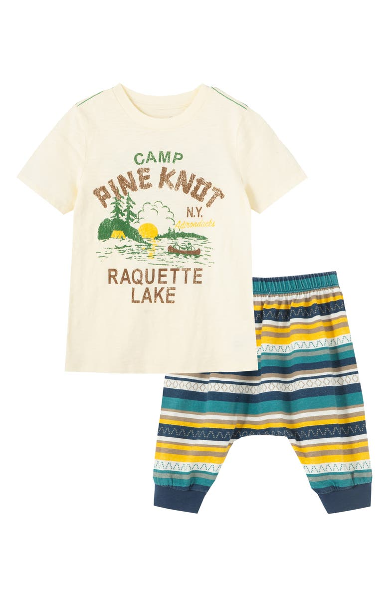 PEEK ESSENTIALS Camp Pine Knot Graphic Tee & Pants Set, Main, color, OFF-WHITE