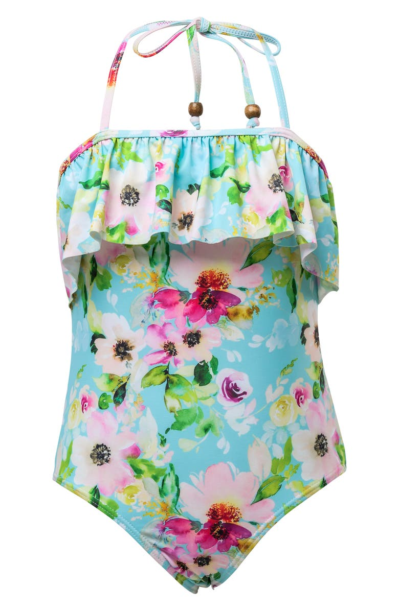 SNAPPER ROCK Watercolor Floral Frill One-Piece Halter Swimsuit, Main, color, WATERCOLOR FLORAL