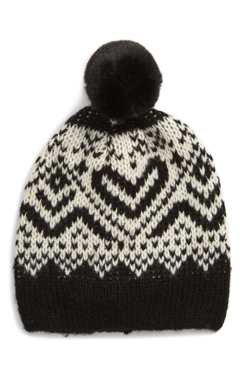 BP. Fair Isle Pompom Beanie, Main, color, 001