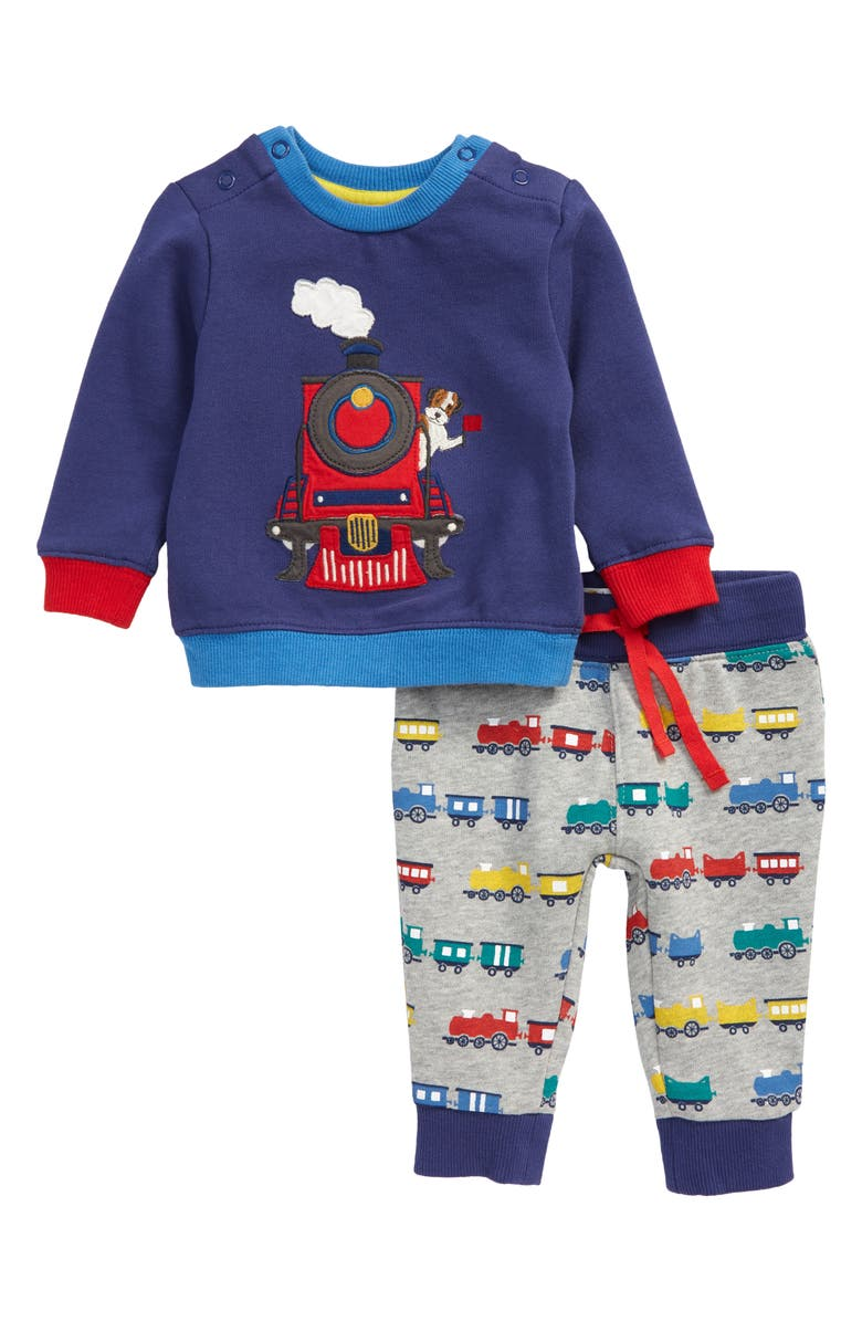MINI BODEN Train Appliqué Sweatshirt & Joggers Set, Main, color, 400