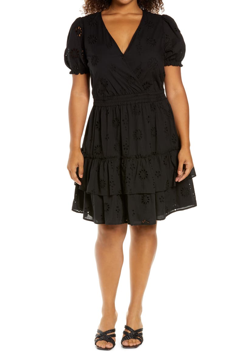 WAYF Reese Tiered Minidress, Main, color, 001