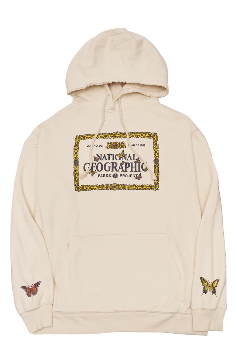 PARKS PROJECT x National Geographic Butterfly Hoodie, Main, color, CREAM