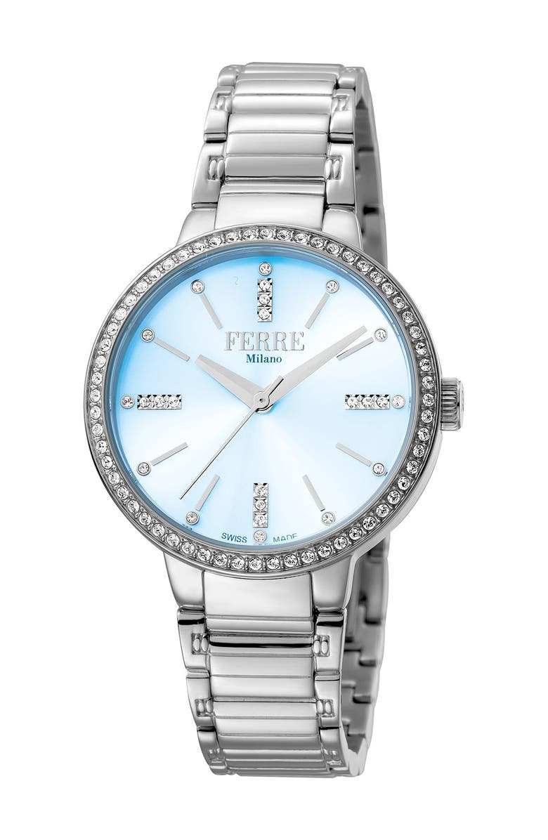 FERRE MILANO Women's Stainless Steel Watch, 34mm, Main, color, SILVER