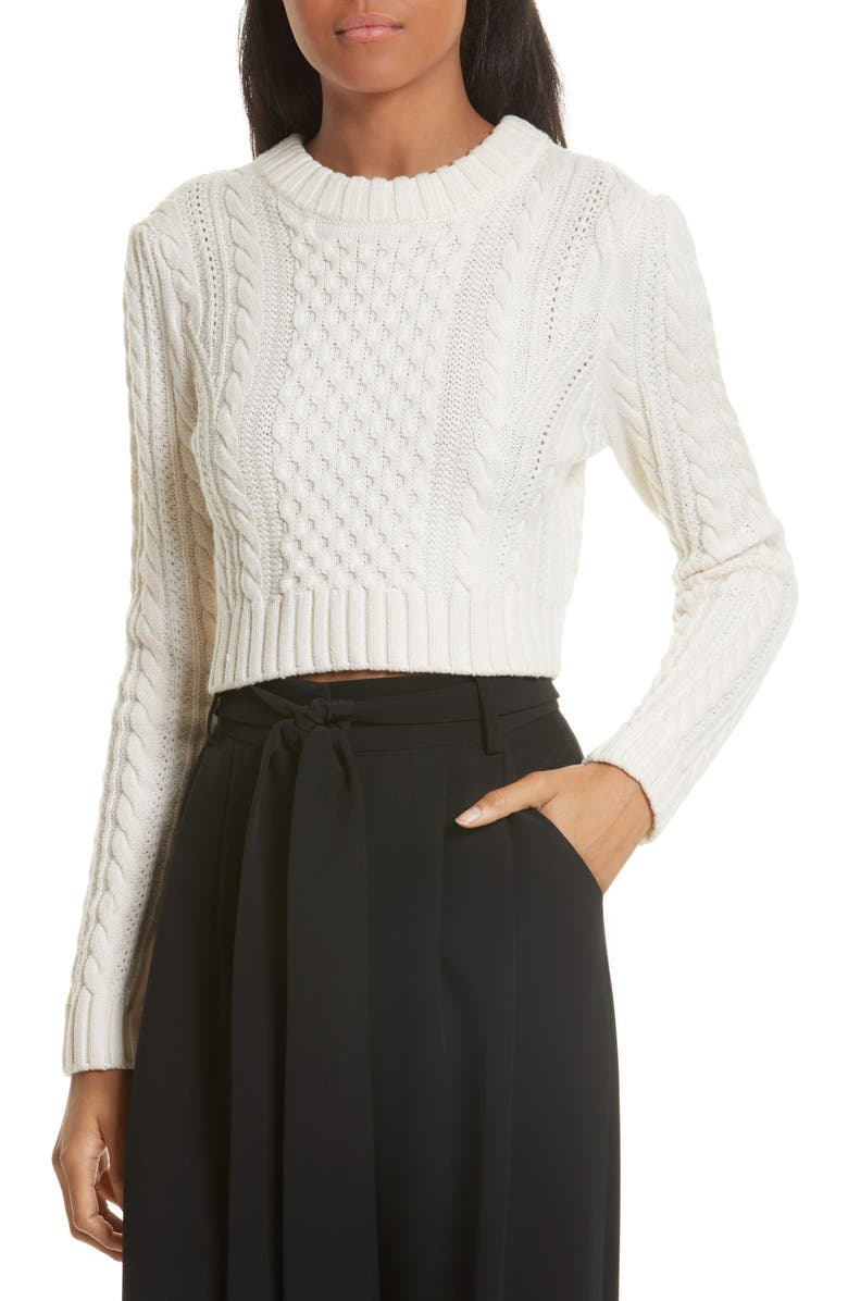 MILLY Cropped Aran Stitch Sweater, Main, color, 150