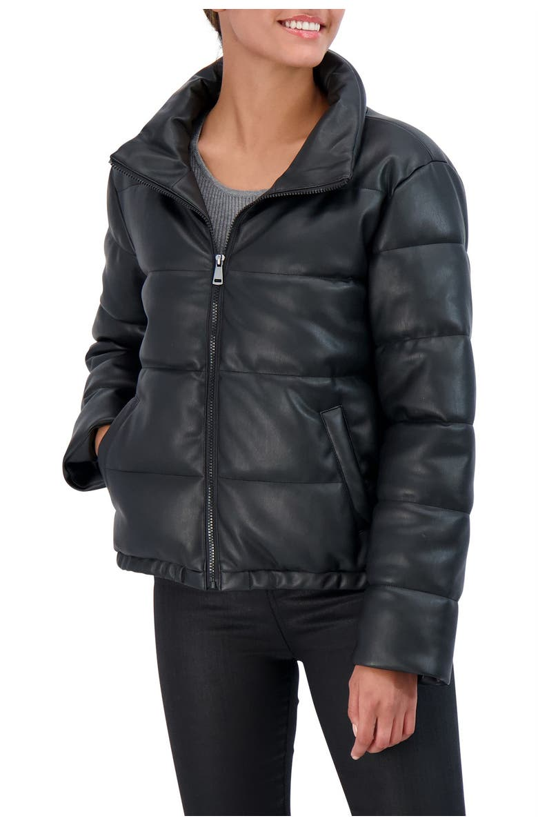 SEBBY Collection Faux Leather Puffer Jacket, Main, color, BLACK