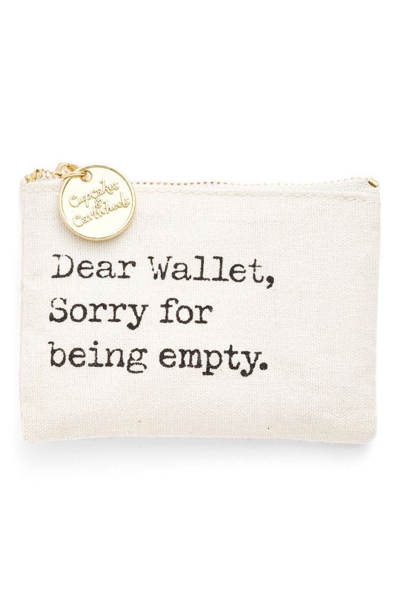 TWO'S COMPANY 'Dear Wallet, Sorry for Being Empty' Coin Purse, Main, color, 100