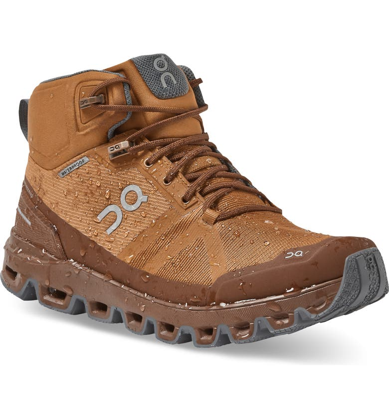 ON Cloudrock Waterproof Hiking Boot, Main, color, PECAN/ ROCK
