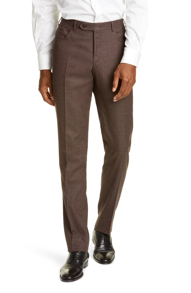 CANALI Flat Front Solid Stretch Wool & Cotton Trousers, Main, color, 200