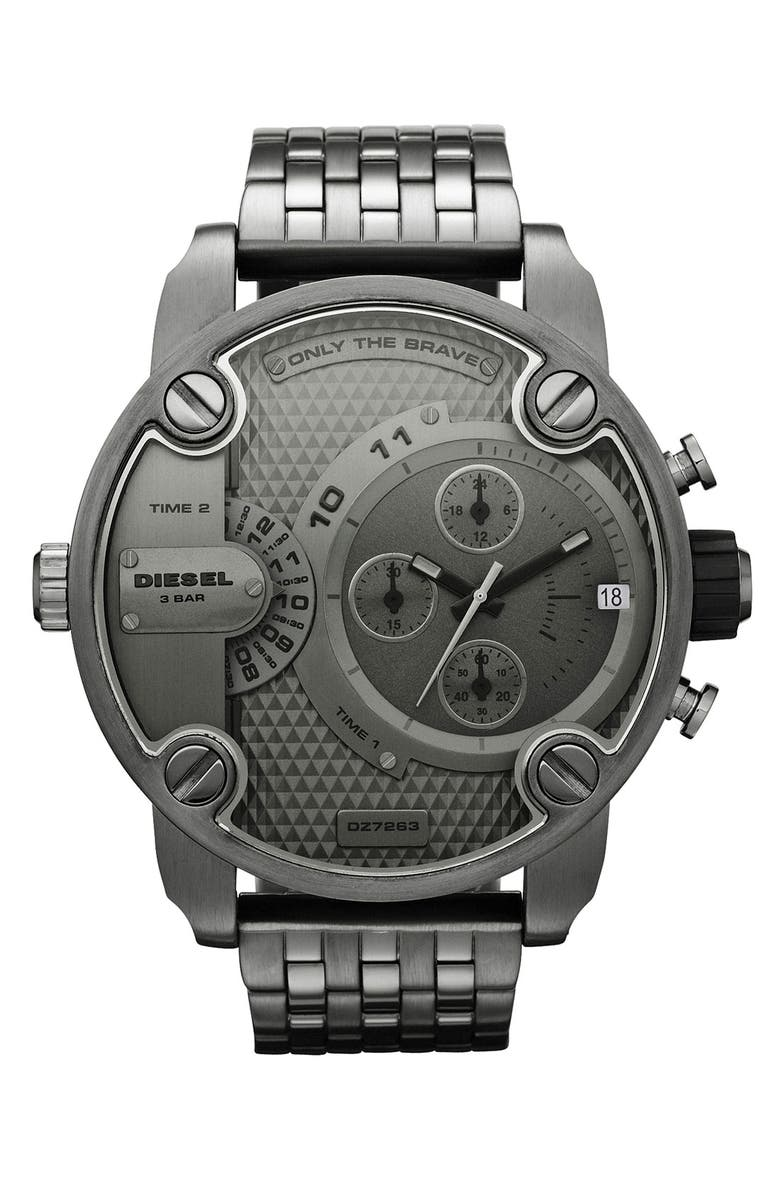 DIESEL<SUP>®</SUP> 'Little Daddy' Chronograph Bracelet Watch, 51mm, Main, color, 020